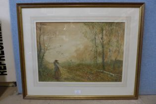 Fred Hines (1875-1928), autumnal rural landscape with a lady on a country lane, watercolour, 38 x