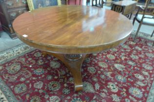 A George IV mahogany circular tilt top breakfast table, manner of Gillows, Lancaster