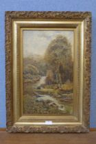 C.Holmes, On The Conway, oil on canvas, dated 1884, 50 x 30cms, framed