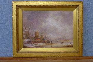 Jan Steen, Dutch winter landscape with figures on a frozen river, oil on canvas, 21 x 30cms, framed