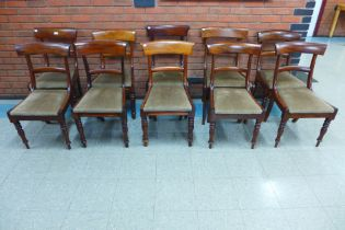 A Harlequin set of ten early Victorian mahogany dining chairs
