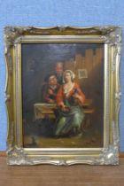 Flemish School (19th Century), interior tavern scene, oil on canvas laid on board, 34 x 27cms,