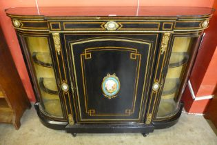 A Victorian ebonised and brass mounted credenza