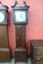 A 19th Century oak 30 hour longcase clock, the painted square dial signed J. Wainwright, Nottingham