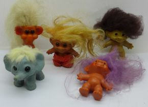 Three small trolls and two animal Gonks, monkey and elephant (1960's)