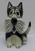A Lorna Bailey 'Whiskers' Cat, signed by Lorna Bailey on the base, 13cm