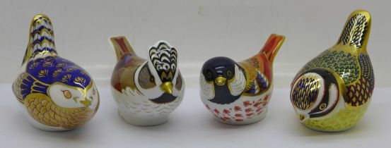 Four Royal Crown Derby paperweights, 'Crested Tit and Coal Tit', both with the 21st Anniversary