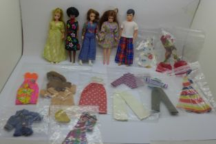 Five Pippa dolls comprising Mandy, Emma, Penny, Pete and Pippa, clothes and shoes
