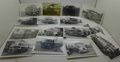 A collection of approximately 40 Barton bus black and white photographs