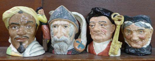 Four large Royal Doulton character jugs, Othello, Don Quixote, Gaoler and Granny