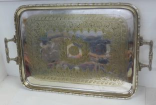 A large silver plated two-handled tray, 55cm x 40cm