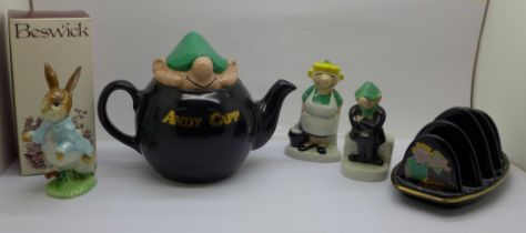 Wade Andy Capp, Andy and Flo salt and pepper, toast rack and teapot, and a Beswick figure of Peter