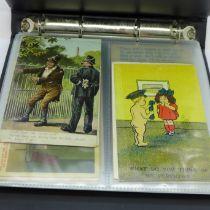 Postcards; comic postcards in album, vintage to modern (60 no.)