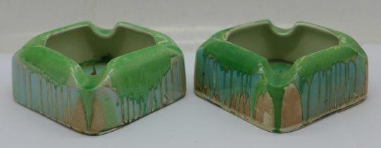 A pair of Shelley dripware ashtrays, 7cm square