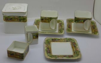 A Foley 'Cube' china tea set, stands and pot 1920s-30s, teapot a/f (hairline cracks)