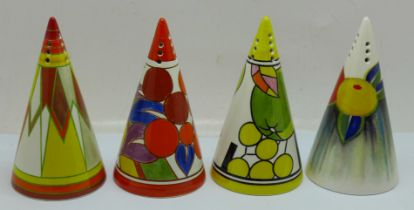 Four Wedgwood Clarice Cliff shakers, Delicia Citrus, Sun Gold, Apples and Berries, boxed and with