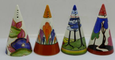 Four Wedgwood Clarice Cliff shakers, Blue Chintz, Autumn, Blue Firs and Crocus, boxed and with