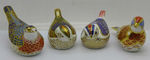 Four Royal Crown Derby paperweights, 'Linnet' designed by Tien Manh Dinh and modelled by Mark