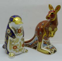Two Royal Crown Derby paperweights - from the Australian Collection 'Kangaroo' (with joey), John