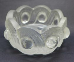 A Lalique crystal small Gaol bowl, a/f, (base scratched and small chips to rim), 10cm
