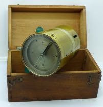 An early 20th Century surveyor's cross with long needle compass, boxed