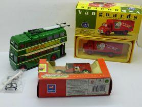 Three model vehicles, Corgi Classics Nottingham City Transport Karrier Trolleybus set with
