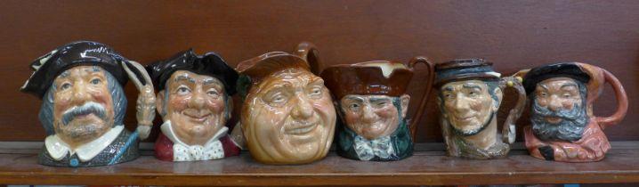Six large Royal Doulton character jugs, Sancho Panca, Mine Host, John Barleycorn, Old Lad, and three