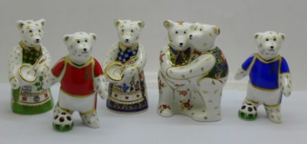 Five Royal Crown Derby paperweights, all modelled as miniature bears (9cm) comprising Bear Hug,