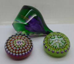 A limited edition Caithness Dewdrop paperweight, boxed, and two Peter McDougall glass paperweights