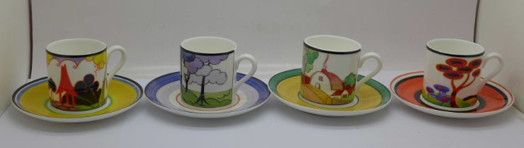 Eight Wedgwood Clarice Cliff Cafe Chic coffee cups with saucers, boxed and with certificates