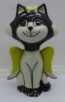 A Lorna Bailey Angel/Winged Cat, signed by Lorna Bailey on the base, 13.5cm