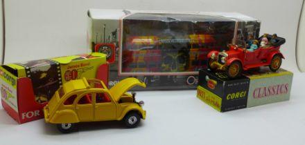Three die-cast model vehicles, Corgi James Bond Citroen 2CV, 9021 Daimler and Blackpool Balloon