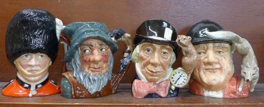 Four large Royal Doulton character jugs, The Guardsman, Rip Van Winkle, Mad Hatter and Gone Away