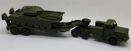 A Dinky Supertoys Mighty Antar and Tank Transporter with Centurion Tank 651, tank missing one track