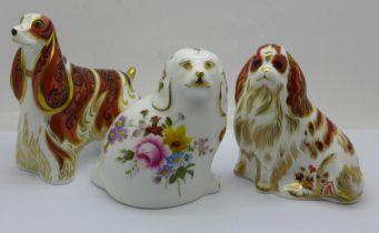 Three Royal Crown Derby paperweights, 'The Spaniel' to mark the retirement of the Derby Posie