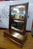 A George III inlaid mahogany toilet mirror