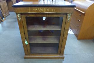 A Victorian inlaid walnut and gilt mounted pier cabinet