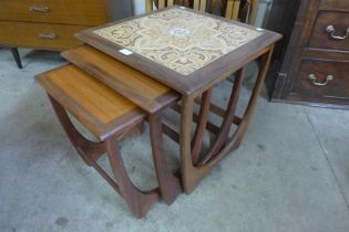 A G-Plan Astro teak and tiled top nest of tables