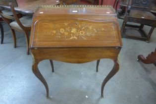 A 19th Century French marquetry inlaid rosewood and gilt metal mounted bureau de dame