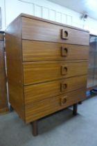 A Uniflex teak chest of drawers, designed by Gunther Hoffstead
