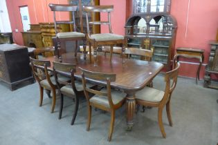An early Victorian mahogany extending dining table, a/f a set of Harlequin Victorian dining chairs