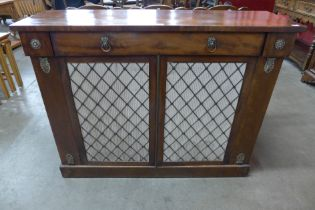 A Regency mahogany and gilt metal mounted side cabinet