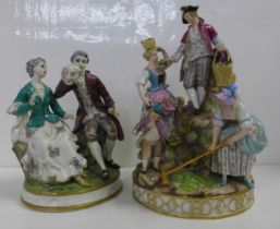 Two German porcelain figure groups; couple seated, with theatrical mask, and Meissen Gardening