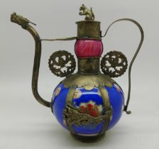 A Chinese Tibetan squirrel and dragon porcelain and metal covered small tea pot