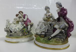 Two German porcelain figure groups; couple in conversation, with lamb and couple playing chess, both