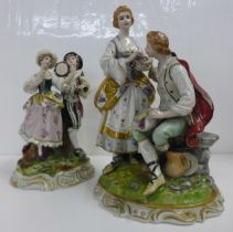 Two German porcelain figure groups; musicians and a courting couple with fruit, some a/f