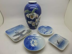 A Royal Copenhagen vase, two square dishes and two circular pin dishes