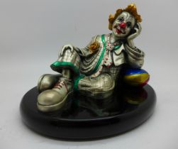 A Marcello Giorgio clown finished in sterling silver laminate and hand painted enamel, 17cm wide