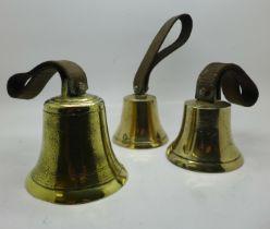 Three brass hand bells