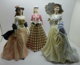 Three Royal Worcester figures, Charlotte, Vivien and Knightsbridge
